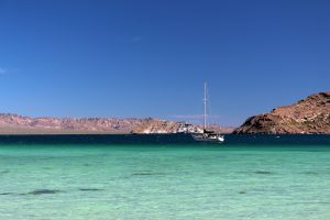 Turquoise beautiful waters in Baja Concepcion Bay